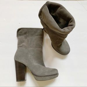 Banana Republic Gray Suede Heel Ankle Boots 5.5